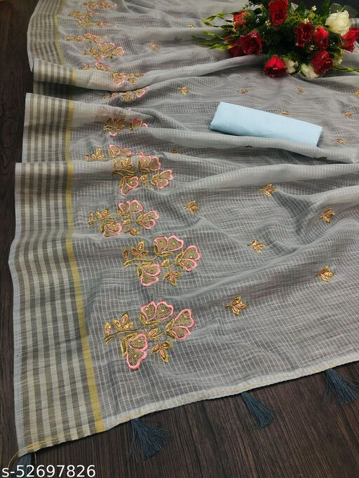 RDS Cotton Saree with Embroidered 3Flowers Design work (Grey)