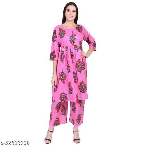 Women's Cotton Printed Pink Palazzo Kurti Set