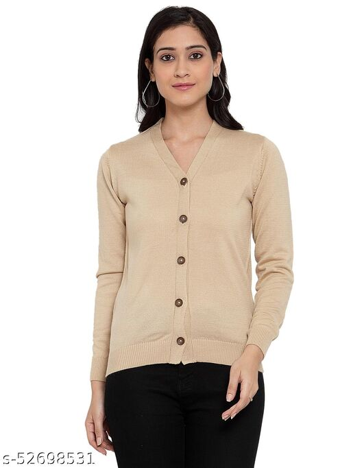 Kalt Women Full Sleeves Acrylic Cardigan Sweater