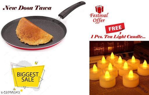 ARNAH TREASURE Festival Special Offer Non-Stick Aluminium Flat Dosa Tawa ( 3 Layered Coated ) With FREE Led Tea Light Candle For Home Decoration 1 Piece Candle