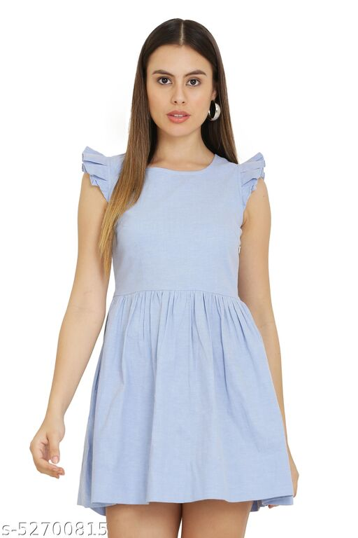 Women Fit and Flare Blue Dress