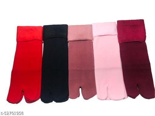 Royals Women's Multi Colors Soft Warm Cozy Fully Stretchable Fur Velvet Ankle 5 Pcs. Socks ( free Size)