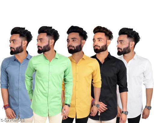 SANGAM Men's casual slim fit cotton shirt(pack of 5)
