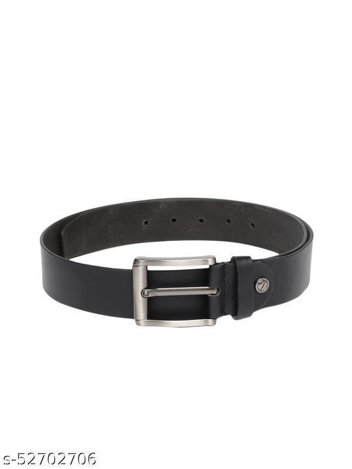 Men Black Solid Genuine Leather Belt BB1-01