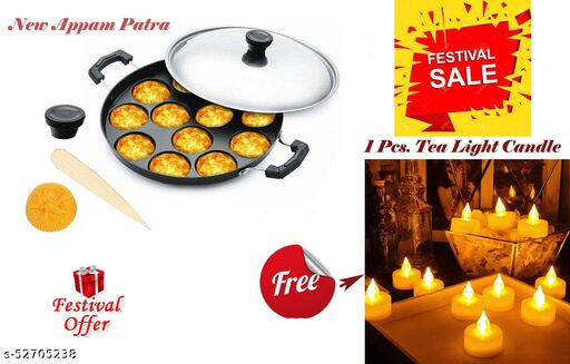 ARNAH TREASURE Festival Best Offer 12 Cavity Non-Stick Aliminium Appam Patra , Paniyarakal WITH FREE 1 Piece Tea Light Candle For Home Decoration ( Appam Maker + 1 Pcs. Candle)
