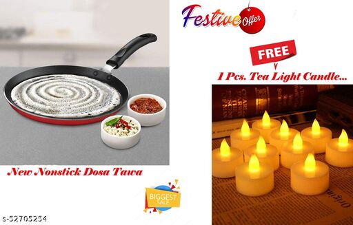 ARNAH TREASURE Festival Best Offer Non-Stick Aluminium Flat Dosa Tawa ( 3 Layered Coated ) With FREE Led Tea Light Candle For Home Decoration 1 Piece Candle