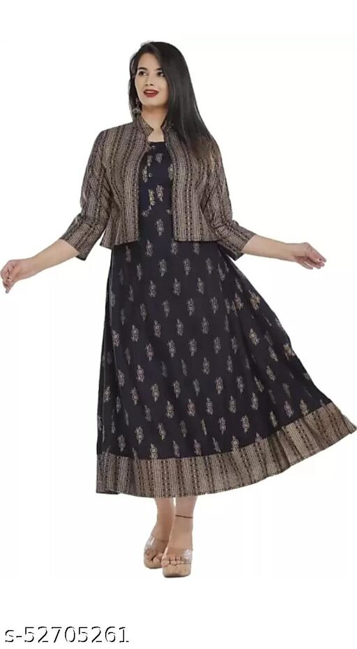 Stylish Anarkali Black Gown with Kotii