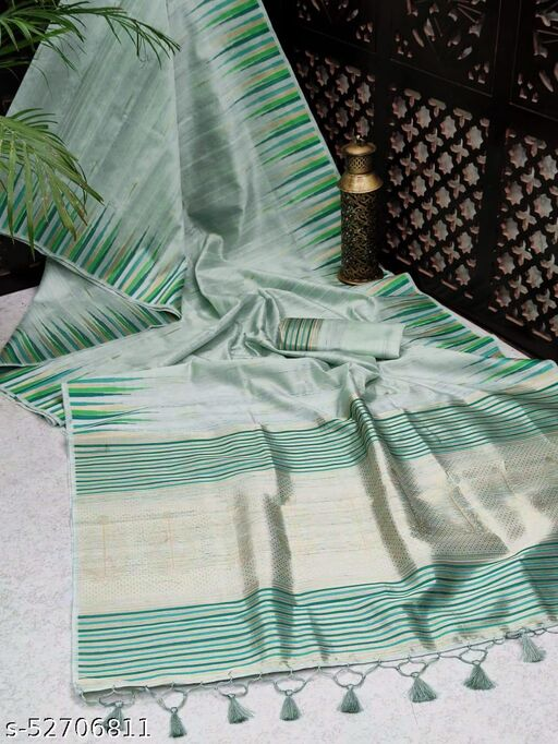 KB30 Tussar Silk weaving saree with ikkat woven Border and rich Zari woven Pallu with fancy Tassels and Zari woven Blouse piece
