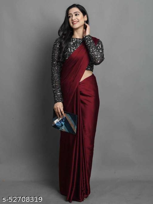 Plain Bollywood Satin Blend Saree