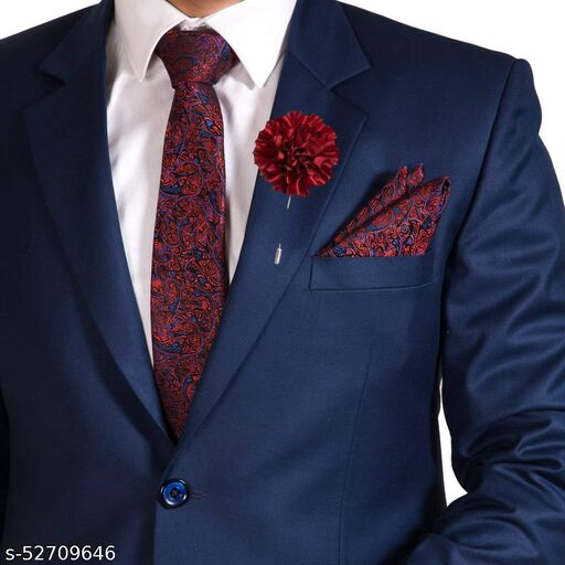 To The Nines Red Polyester Men's Tie, Pocket Square & Lapel Pin