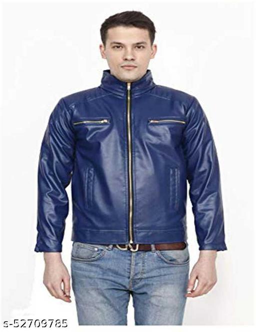 Full Sleeve Solid Men Leather Jacket (D.Blue)