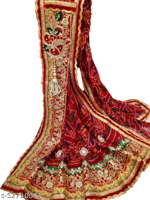 Rajasthani Marwadi Chunri Odhana Dupatta - Pure Georgette - Floral Design