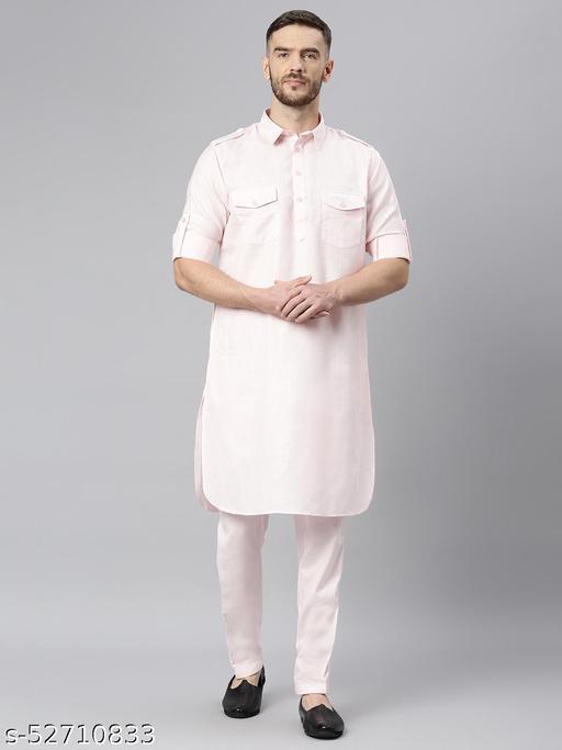 Hangup Men's Pink Kurta Pajama Cotton Blend Pink_PathaniSet