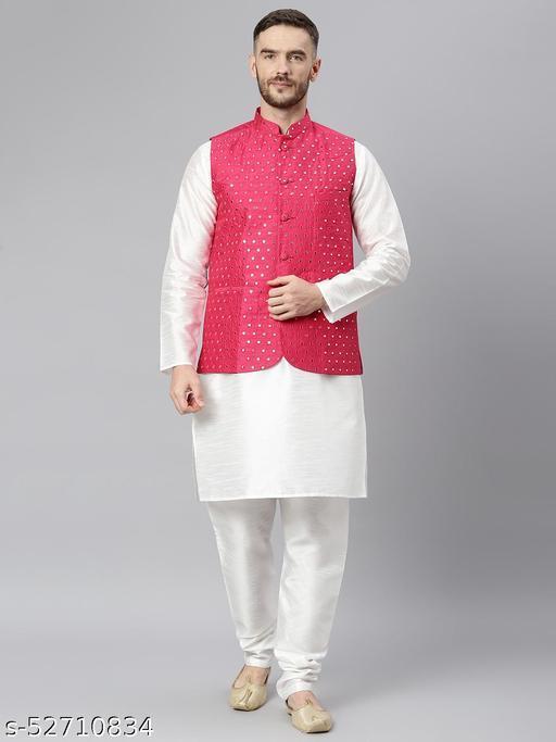 Hangup Men's White Kurta Pajama Dupion Silk 3pc_175AWhiteSilkKP