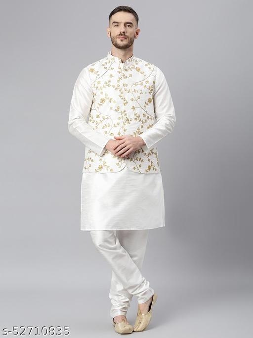 Hangup Men's White Kurta Pajama Dupion Silk 3pc_181AWhiteSilkKP