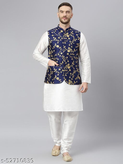 Hangup Men's White Kurta Pajama Dupion Silk 3pc_180AWhiteSilkKP