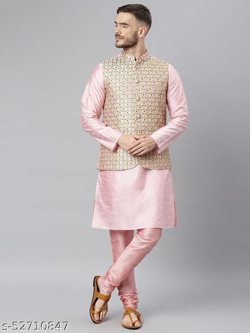 Hangup Men's Pink Kurta Pajama Dupion Silk 3pc_183APinkSilkKP