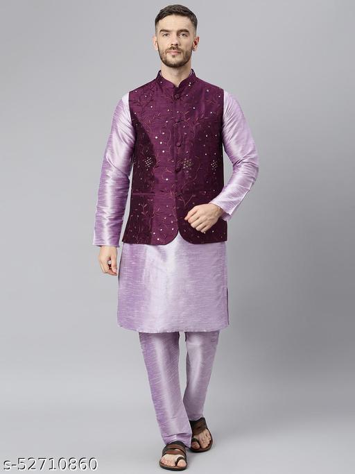 Hangup Men's Purple Kurta Pajama Dupion Silk 3pc_178APlumSilkKP