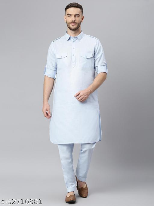 Hangup Men's Blue Kurta Pajama Cotton Blend SkyBlue_PathaniSet