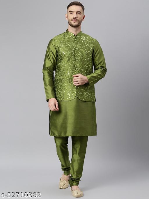 Hangup Men's Green Kurta Pajama Dupion Silk 3pc_177AOliveSilkKP