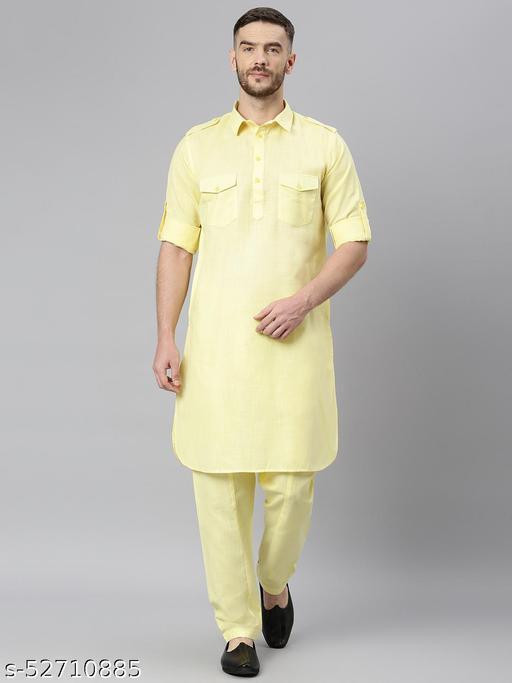 Hangup Men's Yellow Kurta Pajama Cotton Blend Yellow_PathaniSet