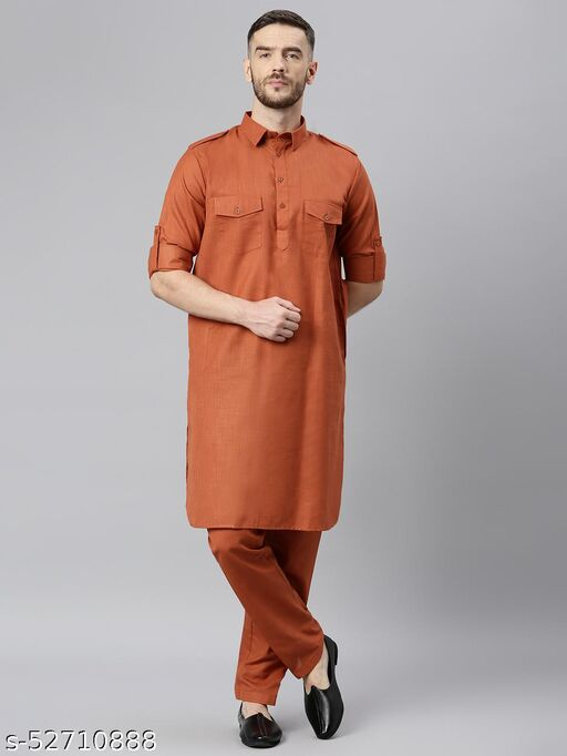 Hangup Men's Rust Kurta Pajama Cotton Blend Rust_PathaniSet