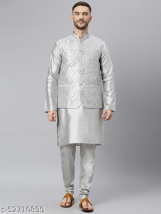 Hangup Men's Grey Kurta Pajama Dupion Silk 3pc_176AGreySilkKP