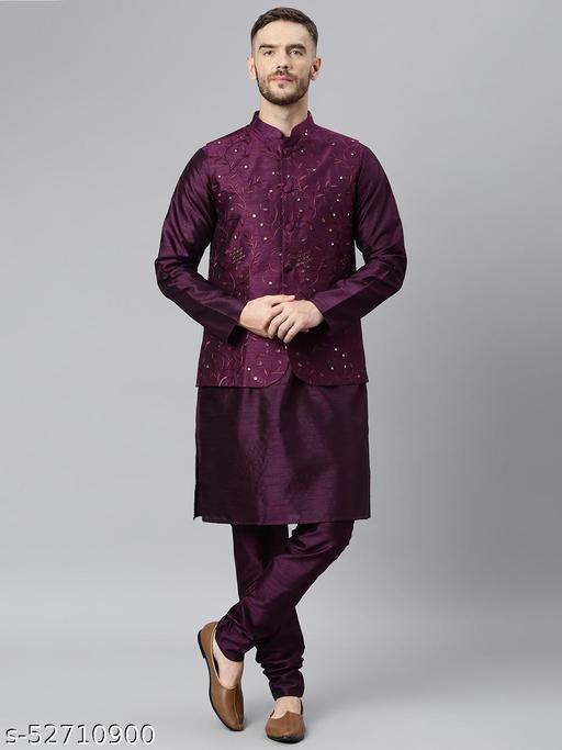 Hangup Men's Purple Kurta Pajama Dupion Silk 3pc_178ADarkPurpleSilkKP