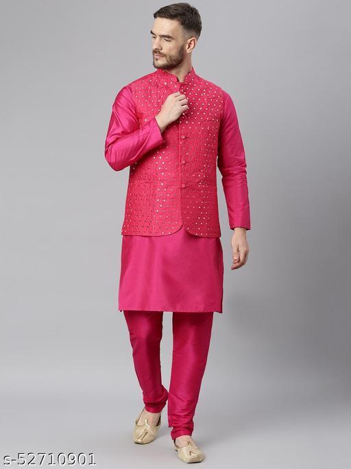 Hangup Men's Pink Kurta Pajama Dupion Silk 3pc_175ADeepPinkSilkKP