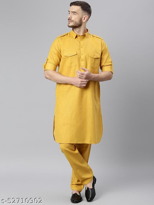 Hangup Men's Mustard Kurta Pajama Cotton Blend Mustard_PathaniSet