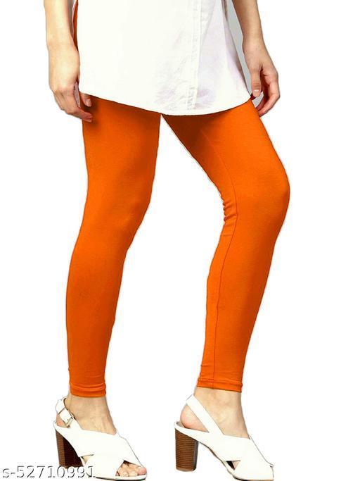 Women's Cotton Lycra Leggings Ankle Length XL and XXL (Orange)