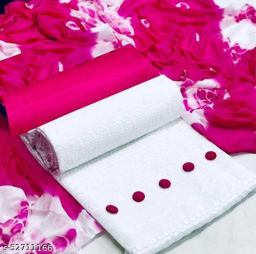 Cotton Embroidered Kurta & Churidar Material  (Unstitched)