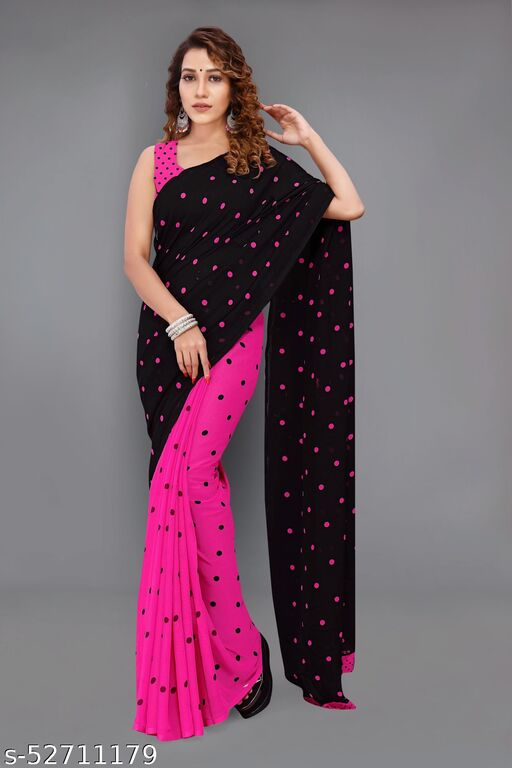 Pretty, Printed Georgette Saree with Blouse Piece