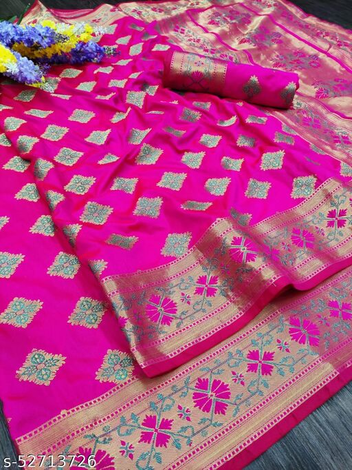 Dutt Creation Nylon Lichi Silk Patola Rich Pallu Saree