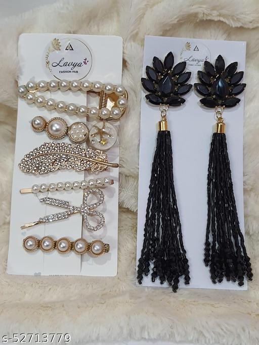 KOREAN HAIR PINS CARD & EARRING COMBO