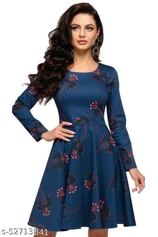 SHOPELLO Women's Fit And Falre Western Cotton Midi Dress
