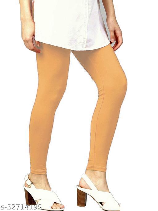 Women's Cotton Lycra Leggings Ankle Length XL and XXL (Skin)