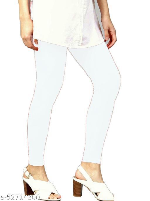 Women's Cotton Lycra Leggings Ankle Length XL and XXL (White)