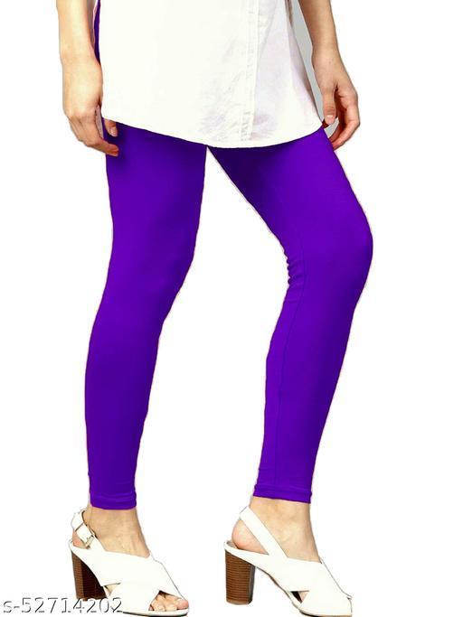 Women's Cotton Lycra Leggings Ankle Length XL and XXL (Violet)