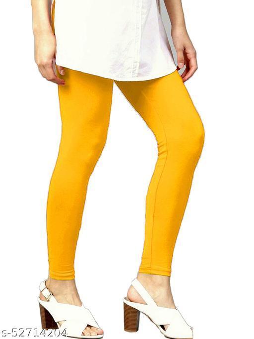 Women's Cotton Lycra Leggings Ankle Length XL and XXL (Yellow)