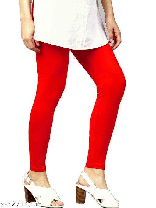 Women's Cotton Lycra Leggings Ankle Length XL and XXL (Red)