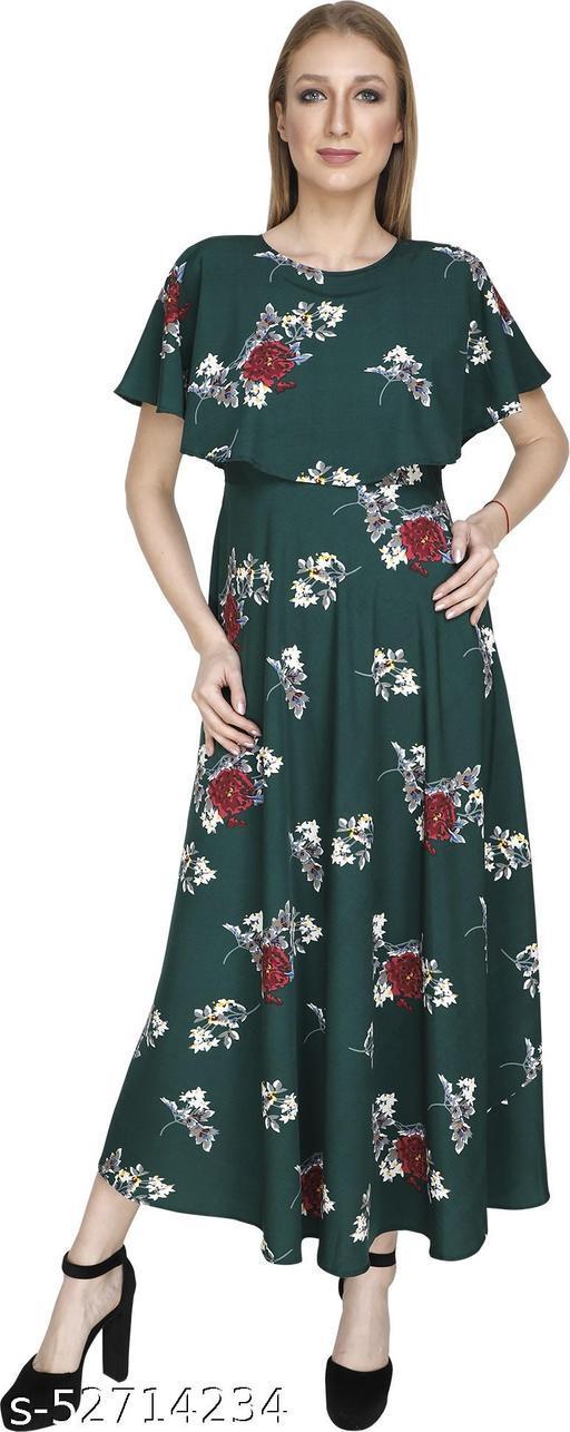 Women A-line Green Dress