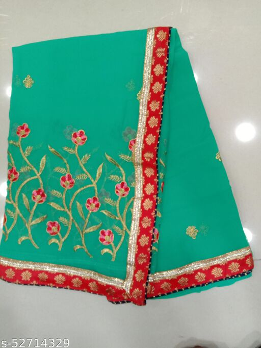 Gerorgette Zari Embroidery Wedding And Party Wear Designer Saree With Blouse