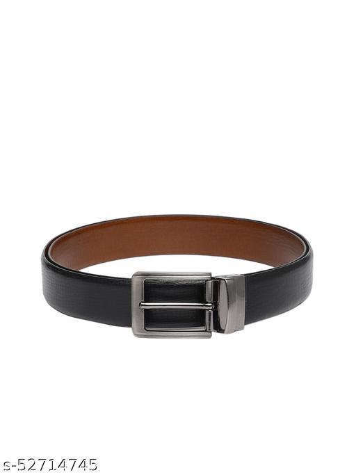 Men Black Solid Reversible Italian Genuine Leather Belt BB2-03