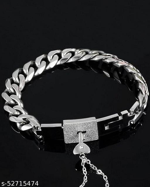 Engraved Lock and Key Stainless Steel Couple Bracelet Pendant Necklace Set for Boys, Girls, Men & Women