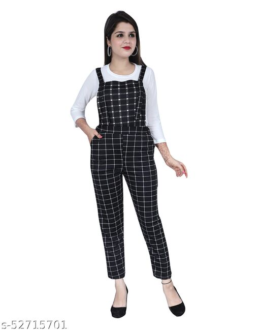 Latest Stylish Checks Dungaree Jumpsuit with inner