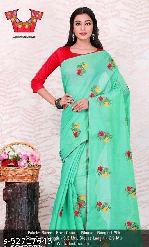 top hit chnderi flower design saree with dupion blouse work piece.
