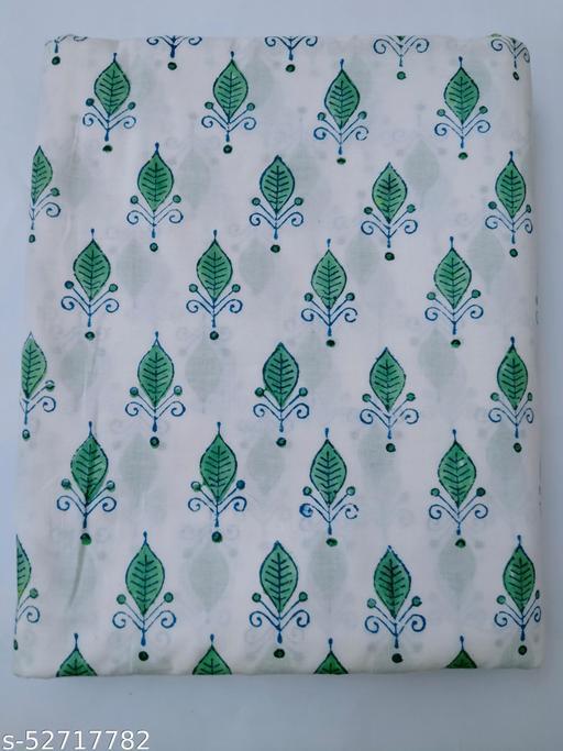 Green Leaf Hand Block Print Cotton Fabric, Hand Block Print Design 2.5 Meter, Multi Color Unstitched Kurti, Kurta, Shirt, Dress, Fabric 2.5 Meter