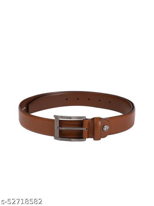 Men Tan Brown Textured Spanish Genuine Leather Belt BB3-04