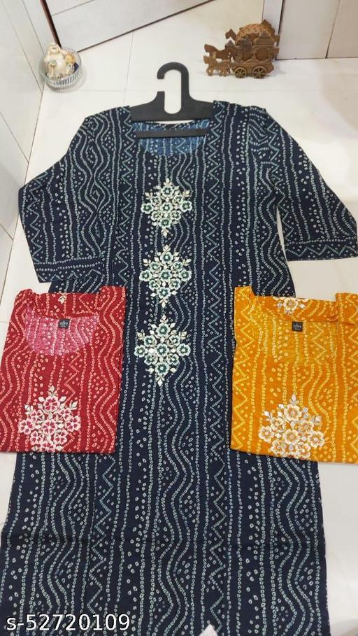 Rayon Bandhani kurtis available in 3 colors